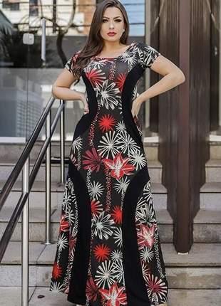 Vestido longo estampado manguinha faixa preta