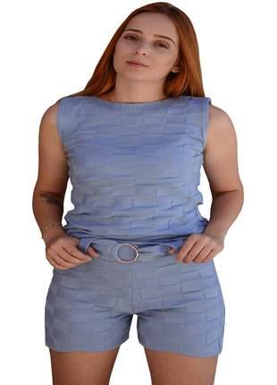 Conjunto blusa e shorts feminino cintura alta moda verão