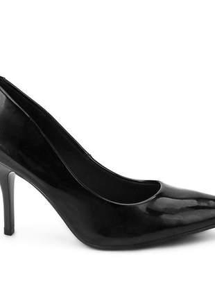 Sapato scarpin preto salto alto beira rio verniz