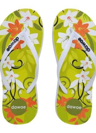 Chinelo feminino dawae modelo slim flower essential verde