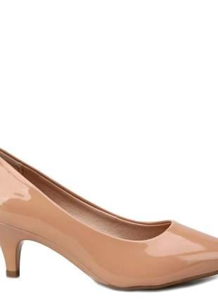 Sapato scarpin salto baixo nude beira rio