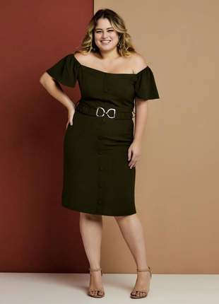 Vestido plus size preto com cinto g_46