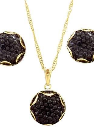 Conjunto de brinco e gargantilha bola negra druzia lg-ama107 - ouro