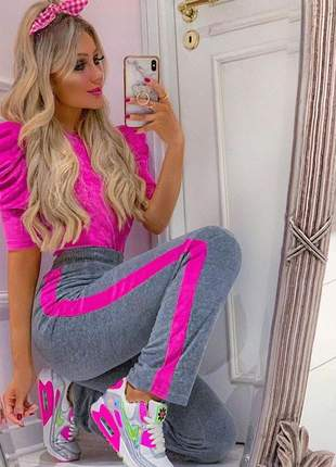 Conjunto plush calça e blusa rosa