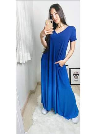 Vestido saruel theodora moda comfy azul caribe, confeccionado em viscolycra.