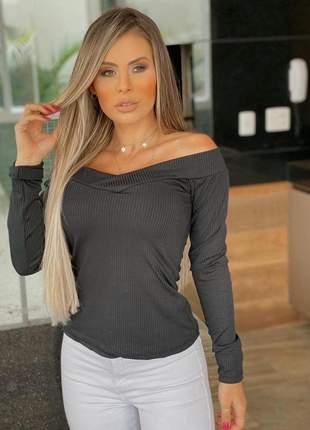Blusa feminina decote cruzado canelado cinza escuro
