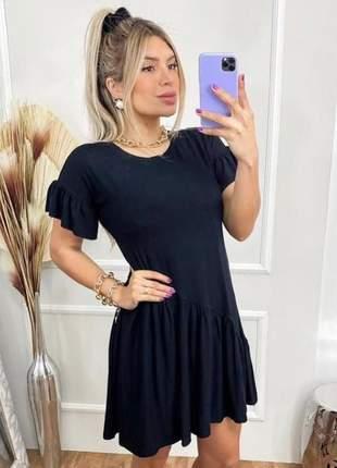 Vestido curto preto soltinho rodado