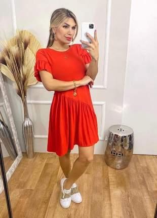 Vestido curto red soltinho manga curta rodado