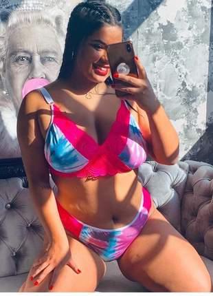 Sutiã calcinha plus size tie dye pink lingerie