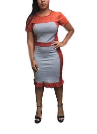 Vestido evangélico duas cores com babado ref 636