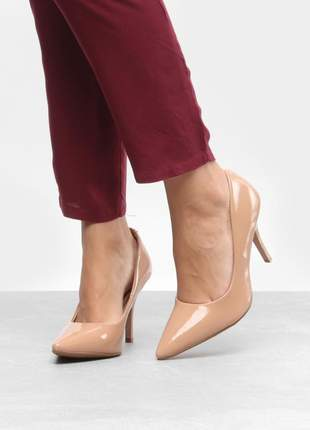 Sapato scarpin nude salto alto beira rio