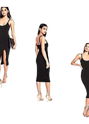 Vestido feminino curto alcinha com fenda super charmoso r$74,99