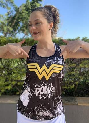 Blusa regata academia feminina fitness estampada 3d mulher maravilha