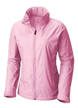 Jaqueta corta vento feminina impermeável r:1005 (rosa-claro)