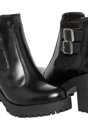 Coturno bota feminino salto tratorado couro 14040