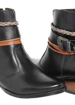 Bota botinha feminina cano curto couro legítimo 7030