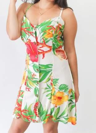Vestido curto de viscose estampado lançamento primavera verão 2020