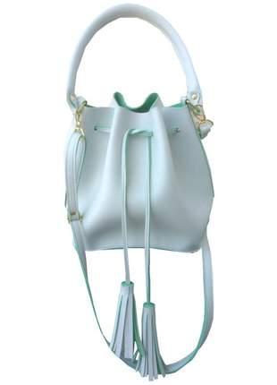 Bolsa feminina saco transversal branca em couro sintético 2 alças