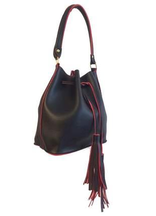 Bolsa feminina saco transversal preta e vermelha couro sintético 2 alças