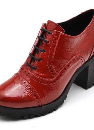 Bota feminina ankle boot couro comfort verniz vermelha