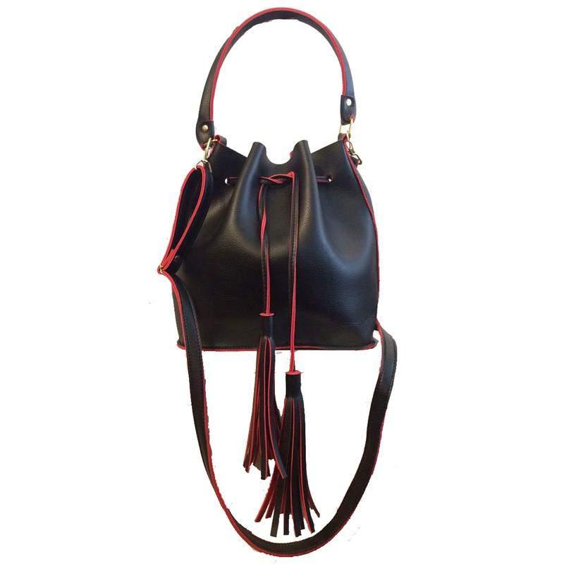 4d9888a1d Bolsa feminina saco transversal preta e vermelha couro sintético 2 alças1  ...