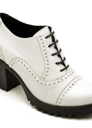 Bota feminina ankle boot couro comfort branca