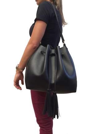 Bolsa feminina saco grande transversal preta com 2 alças