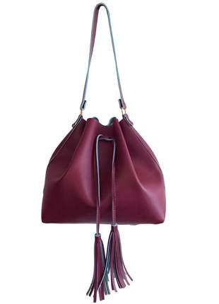 Bolsa feminina saco grande transversal bordô com 2 alças