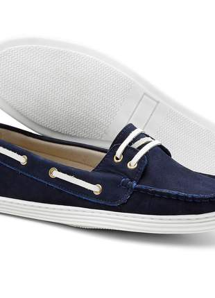 Sapato mocassim feminino docksider em couro letícia alves azul