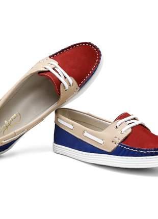Sapato mocassim feminino docksider em couro letícia alves bordô/azul/areia
