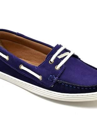 Sapato mocassim feminino docksider em couro letícia alves violeta