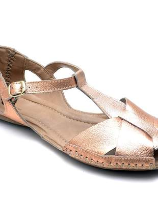 Sandália rasteira feminina moleca 100% couro cores sólidas cobre marrom metalizado