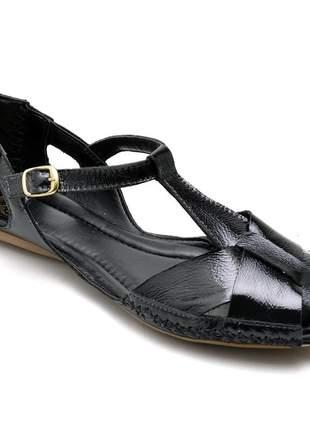 Sandália rasteira feminina moleca 100% couro cores sólidas preta