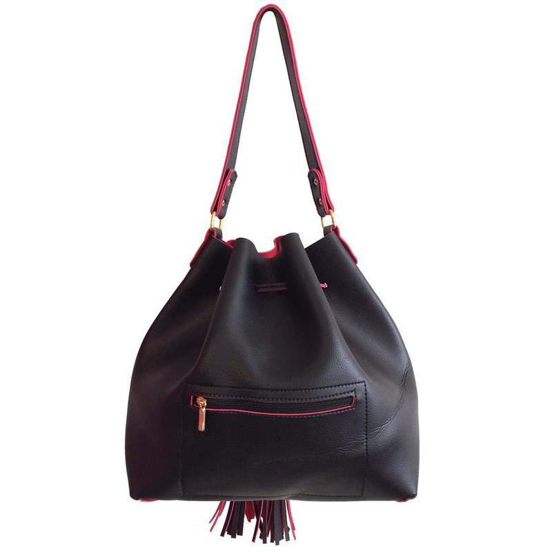ebe4340e0 Bolsa feminina saco grande transversal preta e vermelha 2 alças - R ...