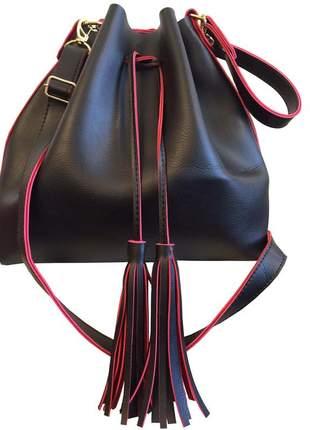 Bolsa feminina saco grande transversal preta e vermelha 2 alças