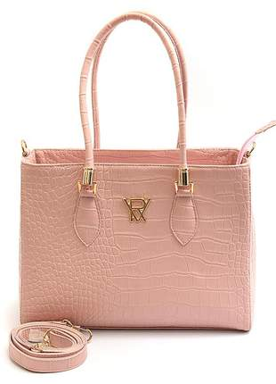 Bolsa feminina de mão e transversal/ombro eco couro rosa vitória-régia