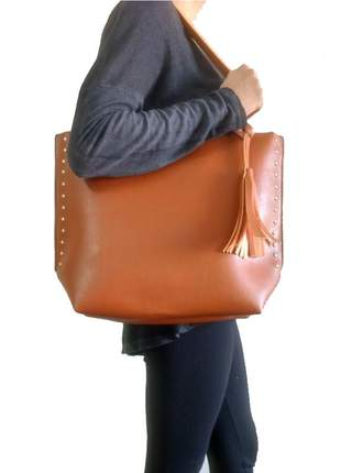 Bolsa feminina sacola grande de ombro couro sintético caramelo