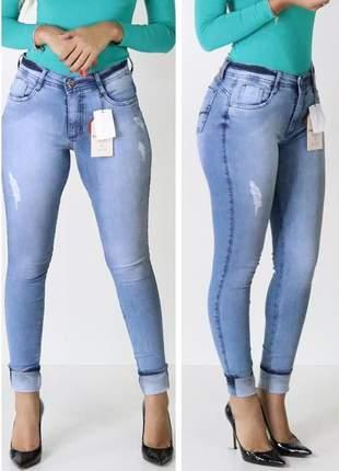 Calça jeans cintura alta skinny jeans claro patogê
