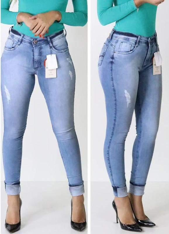 Loja Enne / Calça jeans cintura alta skinny jeans claro patogê