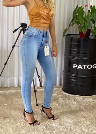 Calça jeans luxo cintura alta skinny lançamento patogê
