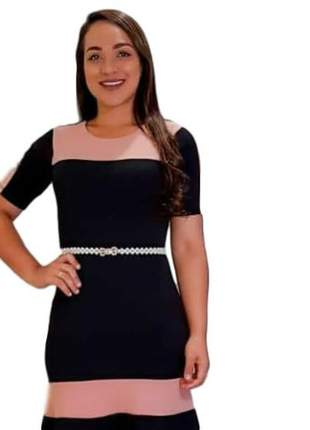 Vestido moda envangelica social preto com rosa ref 736