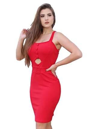 Vestido feminino midi vermelho ref 715