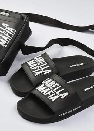 Kit bolsa sandália slide la bella mafia lançamento