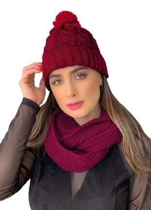 Kit touca gorro tricot +cachecol gola feminino ref:991 ( bordô)