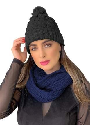 Kit touca gorro tricot +cachecol gola feminino ref:991 (preto/marinho)