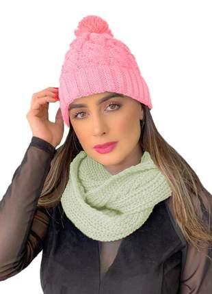 Kit touca gorro tricot +cachecol gola feminino ref:991 (rosa/creme)