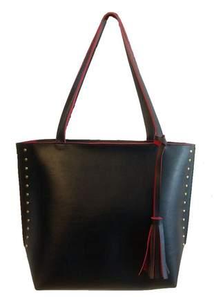 Bolsa feminina grande preta com vermelho de ombro couro sintético