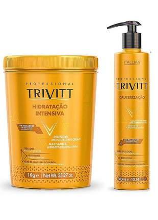 Kit itallian trivitt cauterização 300ml + hidrataçao intensiva 1kg