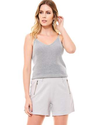 Blusa ralm tricot de alças lurex- prata