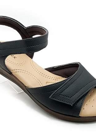 Sandália feminina confort ortopédica com velcro preta
